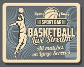 Basketball Sport Bar Retro Poster With Player Throwing Ball. Sport Tournament Of Playoff Game On Lar poster