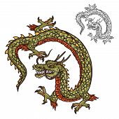 Dragon With Three-toed Claws Japanese Tattoo Design Or Religion Mascot. Mythical Beast With Scales A poster