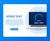Speed Test On Laptop. Speedometer Internet Speed 100 Mb. Website Speed Loading Time. Vector Stock Il poster