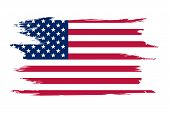 American Flag. Brush Painted Flag Of Usa. Hand Drawn Style Illustration With A Grunge Effect And Wat poster