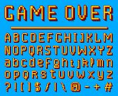 Pixel Font. 8-bit Symbols. Digital Video Game Style. Letters And Numbers On Blue Background. Vintage poster