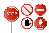 Stop Signs Collection In Red And White, Traffic Sign To Notify Drivers And Provide Safe And Orderly  poster