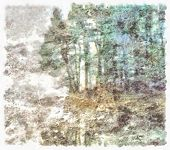 Impressionism modern. Forest in muted colors. 3D rendering poster