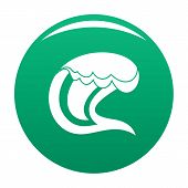 Wave Surfing Icon. Simple Illustration Of Wave Surfing Vector Icon For Any Design Green poster