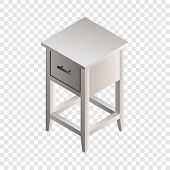 White Night Stand Icon. Isometric Of White Night Stand Vector Icon For Web Design poster
