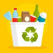 Recycle Basket Concept Background. Flat Illustration Of Recycle Basket Concept Background For Web De poster