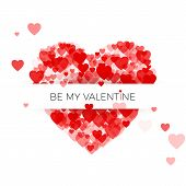 Happy Valentine`s Day Greeting Card Cover Template. Heart Frame With Label. Heart Consisting Of A Mu poster