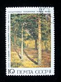 USSR - CIRCA 1986: A stamp printed in the USSR shows a painting by the russian artist 	 Shishkin