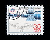 Germany - CIRCA 1979:  A stamp printed in Germany shows spaceship and Otto Lilienthal, circa 1979 Se
