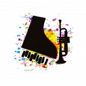 Music Festival Poster With Piano And Trumpet Flat Vector Illustration Design. Music Background With  poster