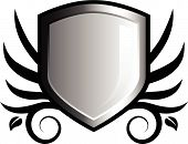 Glossy Black And White Shield Emblem