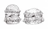 Hamburgers Set With Juicy Meat And Fresh Salad, Made By Pencil Image Of Fast Snack, Huge Burgers Wit poster