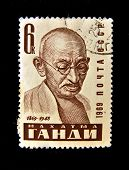 USSR - CIRCA 1969: A Stamp printed in the USSR shows Mohandas Karamchand Gandhi, circa 1969. Series
