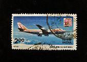 Índia - por volta de 1979: Um selo imprimido em shows de India Indian Airlines Airbus, por volta de 1979