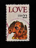 EUA - por volta de 1986: Um selo impresso nos EUA mostra palavra