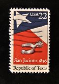 USA - CIRCA 1980s: A Stamp printed in the USA shows spur, star, flag and the inscription