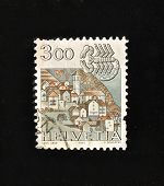HELVETIA (SWITZERLAND) - CIRCA 1984: A Stamp printed in the HELVETIA shows Signo  Cancer, circa 1984.