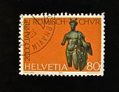 HELVETIA (SWITZERLAND) - CIRCA 1984: A Stamp printed in the HELVETIA shows classical Roman sculpture , circa 1984.