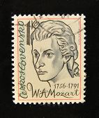 CZECHOSLOVAKIA - CIRCA 1980s: A Stamp printed in the CZECHOSLOVAKIA shows portrait of the composer Wolfgang Amadeus Mozart, circa 1980s.