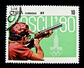 CUBA - CIRCA 1979: A stamp printed in Cuba devoted to the Olympic Games in Moscow (1980) and shows Skeet shooting, circa 1979.