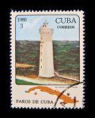 CUBA - CIRCA 1980: A stamp printed in the Cuba shows Light house Punta in Guantanamo, circa 1980