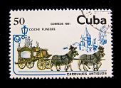 CUBA - CIRCA 1981: A stamp printed by Cuba shows antique horse-drawn wagon