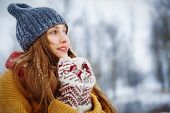 Winter Young Woman Portrait. Beauty Joyful Model Girl Laughing And Having Fun In Winter Park. Beauti poster