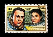 CUBA - CIRCA 1981: A stamp printed in the Cuba shows cosmonauts Shonin and Kubasov, circa 1981. Big