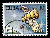 CUBA - CIRCA 1978: A stamp printed in the Cuba shows Space telecommunication station, circa 1978. Bi