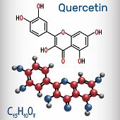 Quercetin ( Flavonoid) Molecule. Structural Chemical Formula And Molecule Model. Vector Illustration poster