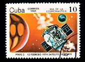 CUBA - CIRCA 1984: A stamp printed in the Cuba shows Space station Mars 5, circa 1984. Big space ser