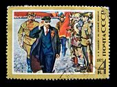 USSR - CIRCA 1977: A stamp printed in BUSSR shows portrait revolutionary, the leader of the Russian proletariat, Vladimir Lenin, circa 1977.