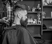Hairstyle Service Concept. Hipster Bearded Client Got Hairstyle. Barber With Trimmer Or Clipper Shav poster