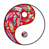 Yin And Yang On White. Hand Drawn Mandala On Isolation Background. Design For Spiritual Relaxation F poster