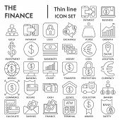 Finance Thin Line Signed Icon Set, Bank Symbols Collection, Vector Sketches, Logo Illustrations, Mon poster