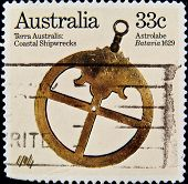 AUSTRALIA - CIRCA 2000s: A stamp printed in Australia shows an Astrolabe, circa 2000s.