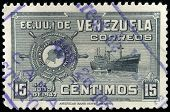 VENEZUELA - alrededor de 1947: un sello impreso en Venezuela por la Flota Mercante Grancolombia, alrededor del año 1947