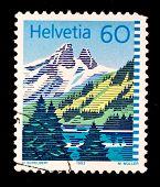 SWITZERLAND - CIRCA 1993: A stamp printed in Switzerland shows mountain landscape, circa 1993
