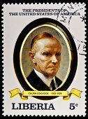LIBERIA - CIRCA 2000s: A stamp printed in Liberia shows President Calvin Coolidge, circa 2000s.