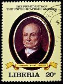 LIBERIA - CIRCA 2000s: A stamp printed in Liberia shows President John Quincy Adams, circa 2000s.