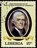 LIBERIA - CIRCA 2000s: A stamp printed in Liberia shows President Thomas Jefferson, circa 2000s.