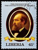 LIBERIA - CIRCA 2000s: A stamp printed in Liberia shows President James A. Garfield, circa 2000s.