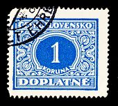 CZECHOSLOVAKIA - YEAR UNKNOWN: A stamp shows value of 1 koruna, year unknown.