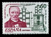 SPAIN - CIRCA 1996: A stamp printed in Spain shows image celebrating 150 years since the first teleg