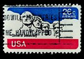 USA - CIRCA 1980's: A post stamp printed in USA shows national memorial . Stone Sculptures of George Washington, Thomas Jefferson, Theodore Roosevelt, and Abraham Lincoln, circa 1980's