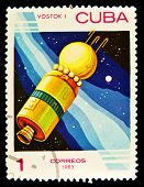 CUBA - CIRCA 1983: A stamp printed in Cuba showing cosmic Vostok I circa 1983.  Space Series