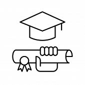 Hand Holding Diploma Certificate And Square Academic Cap, Education Icon Concept poster