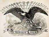 alte Abbildung zeigt Wappen der Vereinigten Staaten. Original, erstellt von Alwin Zschiesche, Pub