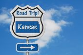 Kansas Road Trip Highway Sign, Kansas Map And Text Road Trip On A Highway Sign With Sky Background 3 poster
