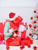 Opening Christmas Gift. Girl Near Christmas Tree Happy Celebrate Holiday. Santa Bring Her Gift That  poster